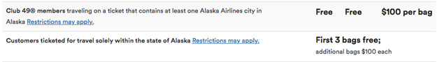 Alaska Airlines Bag Rules Chart