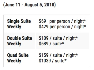 UAA Summer Lodging Rates