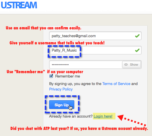 Creating Ustream Username