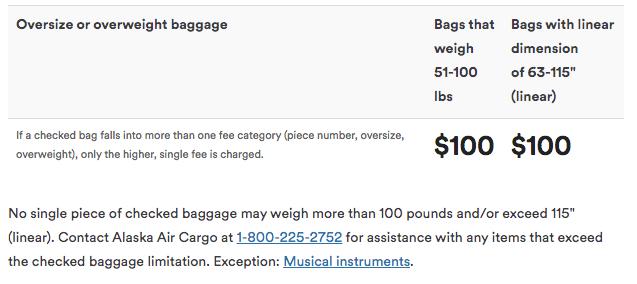 Alaska Airlines Oversize Bag Fees
