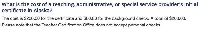 Alaska Teacher Certificaation Costs
