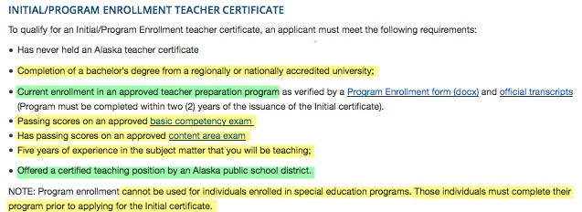 Program Enrollment - Initial Certification